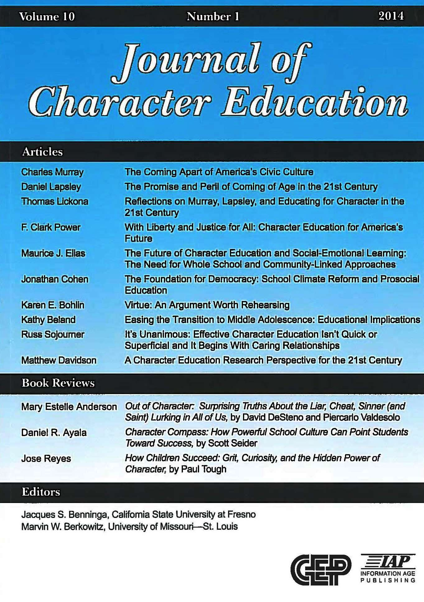 The Journal Of Character Education To Address Character