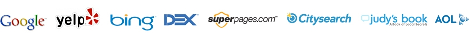 Authority website logos such as Google and Superpages