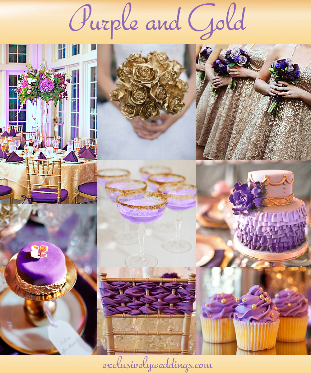Purple Gold Wedding Decorations