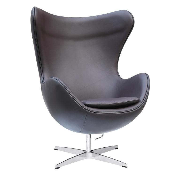 jacobsen egg chair leather gooseneck rocking value arne in dark brown