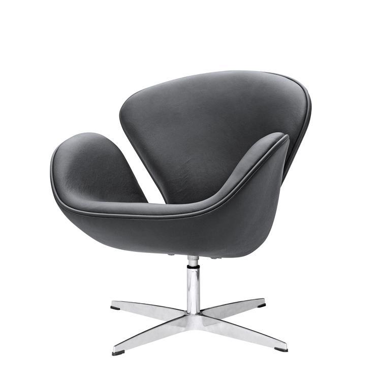 arne jacobsen swan chair steel cost in black leather