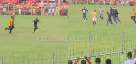 referee Maxwell Hansen being assaulted by supporters after handing RTU a penalty.