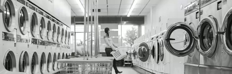 Washing machines in a laundry saloon