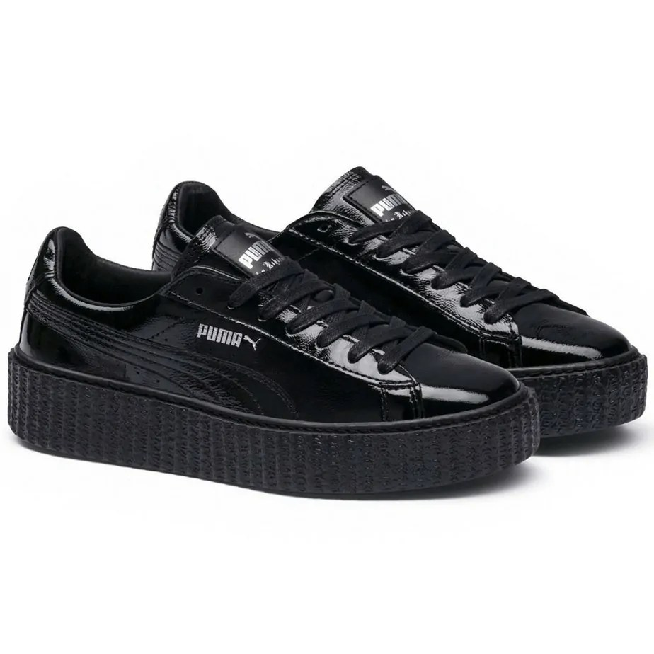 new style 48681 6ea06 PUMA X Rihanna Fenty Wrinkled Patent Black Ladies Trainers