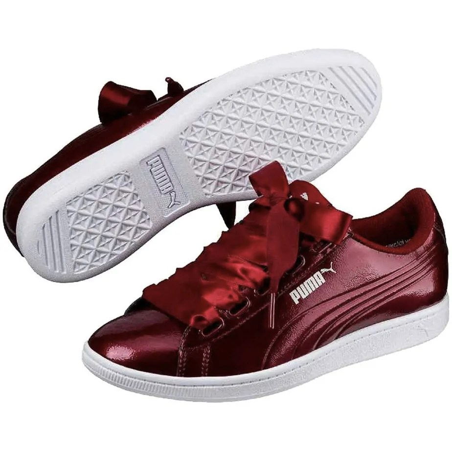Puma Vikky Basket Ribbon Burgundy Ladies Trainers Exclusive Sports