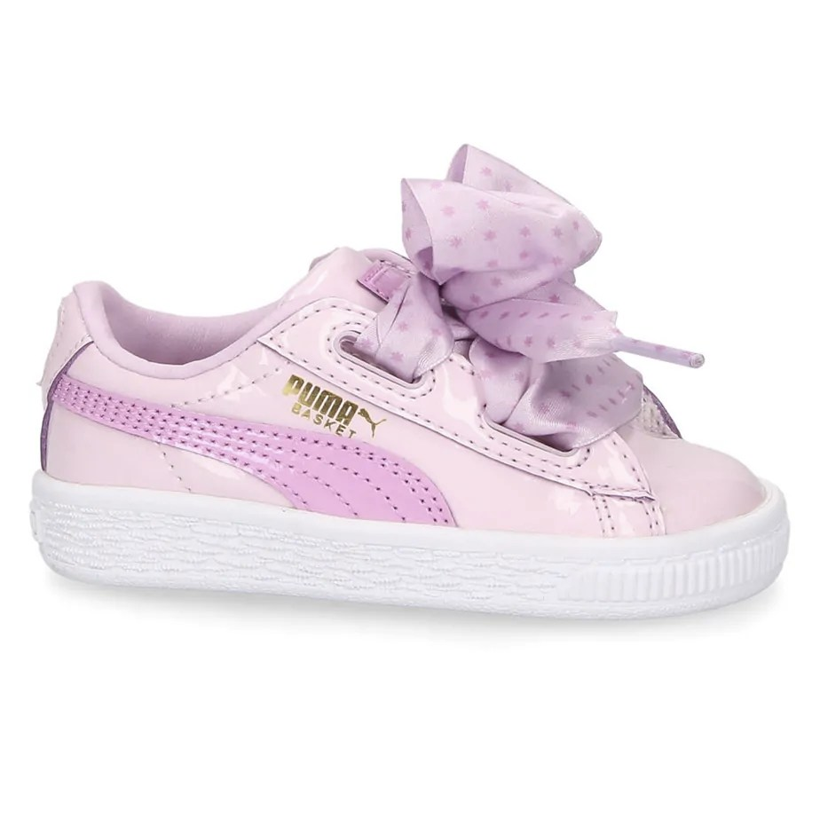quality design a9564 78f1a PUMA Basket Heart Stars Childrens Girls Pink Shoes