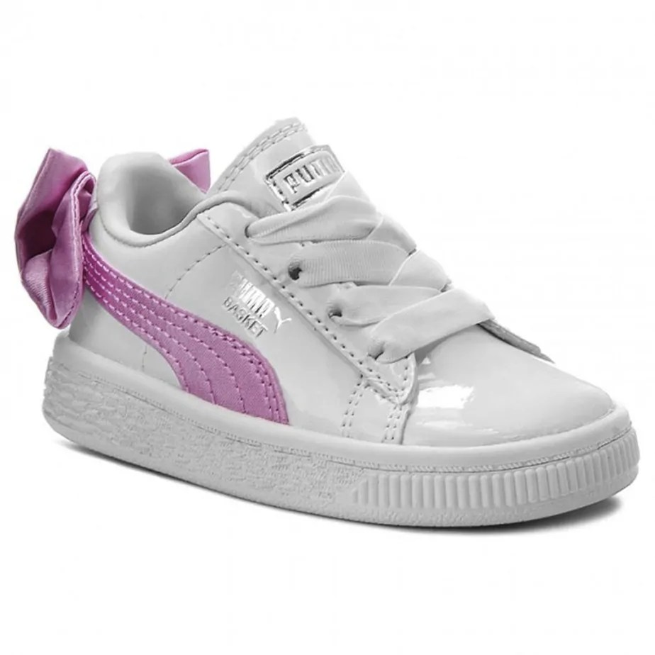 reputable site 24508 bc589 PUMA Basket Bow Patent Infant Trainers