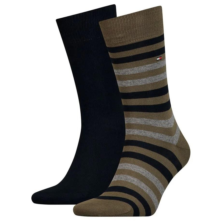 Tommy Hilfiger Mens Dark Olive Grey Calf Socks 2 Pack