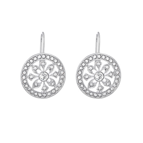 Enchanting Silver Disc Earrings Embedded With Swarovski
