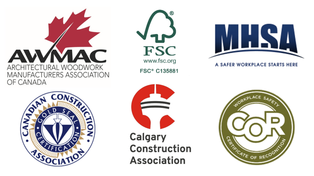 safety memberships: AWMAC, FSC, MHSA, Canadian Contruction Association, Calgary Construction Association, COR