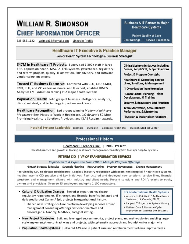 Healthcare IT and CIO Resume Sample