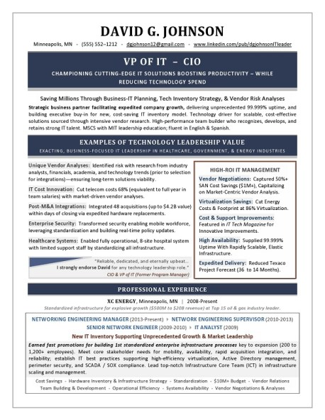 VP of IT & CIO Sample Resume