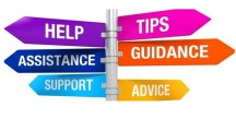 Signpost with signs for Help, Tips, Assistance, Guidance, Support, and Advice