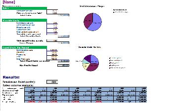 Break Even Analysis Excel Templates