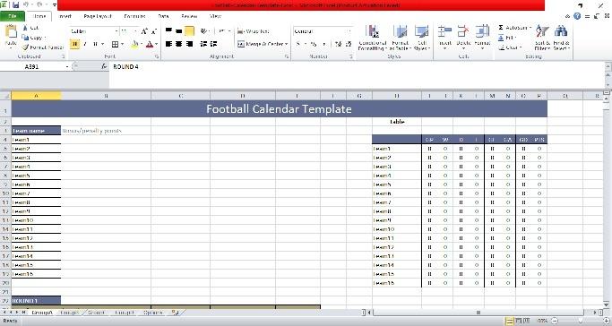 Football Calendar Excel Template 2019