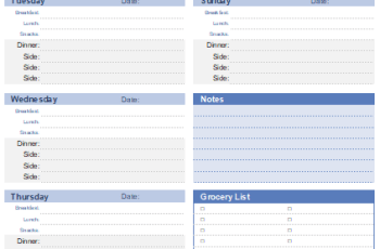 meal planner template excel