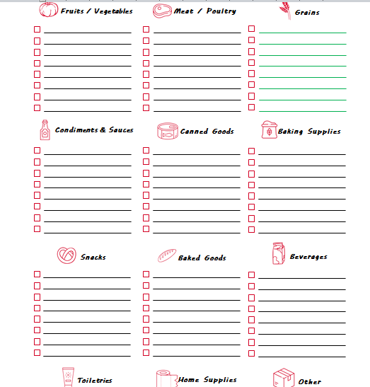 grocery shopping list template word