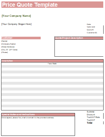 quote template for excel