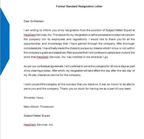 Formal Standard Resignation Letter