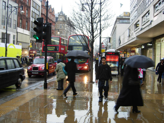 Raining and busy Oxford street
