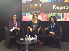 Our Founder Julia charing the Health and Wellbeing panel discussion - *office show