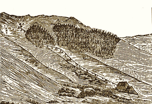 This woodcut from the 1870s shows the Empire Mill and Tramway at Mineral King.