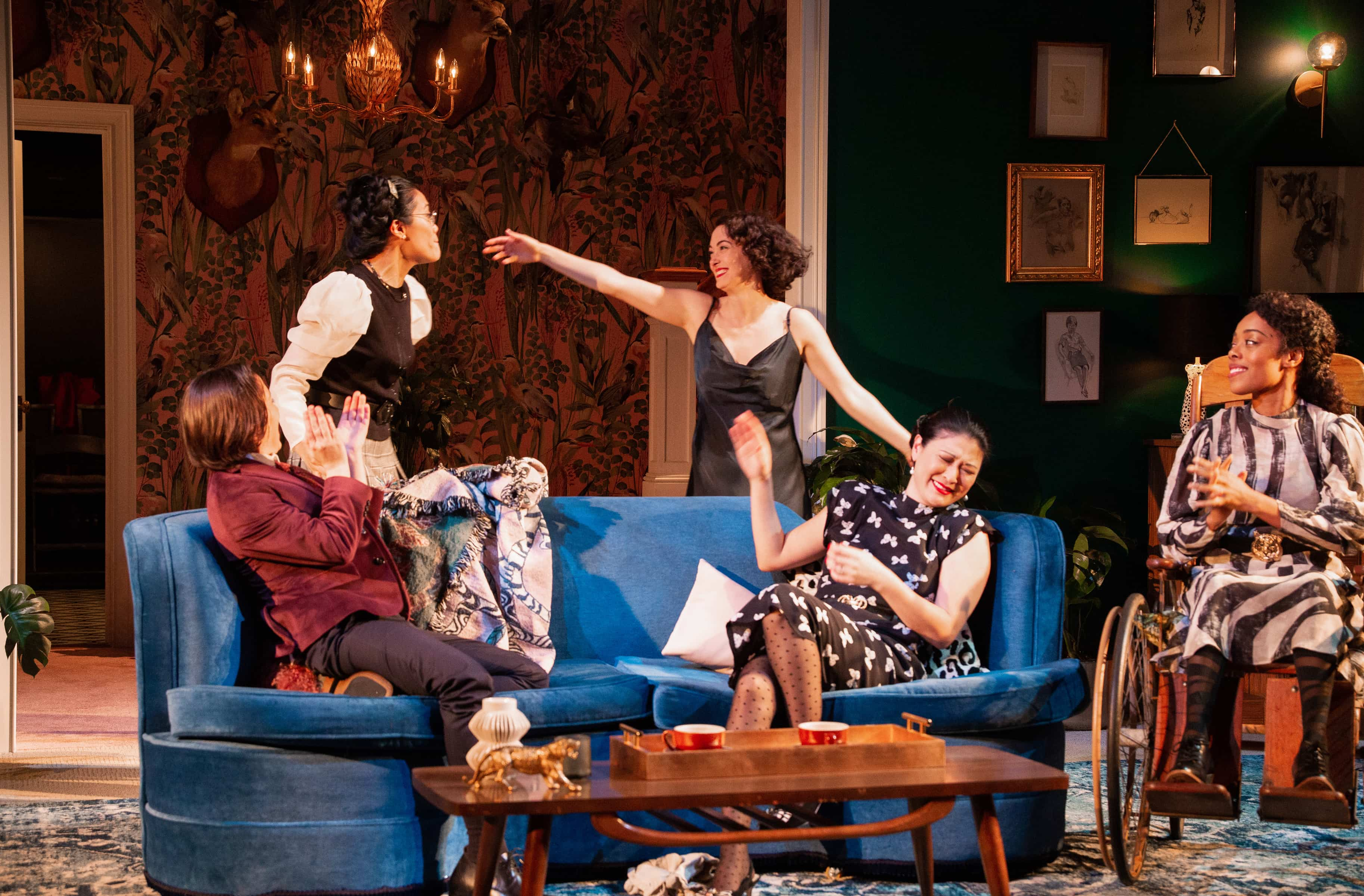 Ronete Levenson (Sue), Lindsay Rico (Paula), Helen Cespedes (Emma), Jennifer Lim (Cindy), and Brittany Bradford (Julia) in Fefu and Her Friends. Photo: Henry Grossman