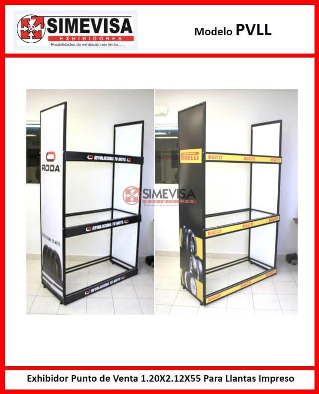 PVLL Exhibidor Punto de Venta 1.20X2.12X55 Para Llantas Impreso