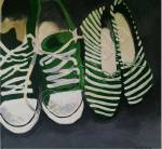 An incomplete acrylic painting of two pairs of green shoes