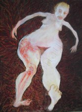 Nude female figure with enlarged leg with red on hip and running down leg. Dark red background