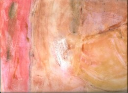 Abstract artwork with pink, beige and green shades moved around on the canvas