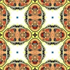 Computer image of male head with mouth open made kaleidoscopic