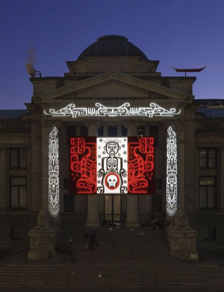 Marianne Nicolson, The House of the Ghosts, 2008. Drawing, projection. Installation view. Photography by Trevor Mills, Vancouver Art Gallery. Image courtesy of the artist and the Vancouver Art Gallery.