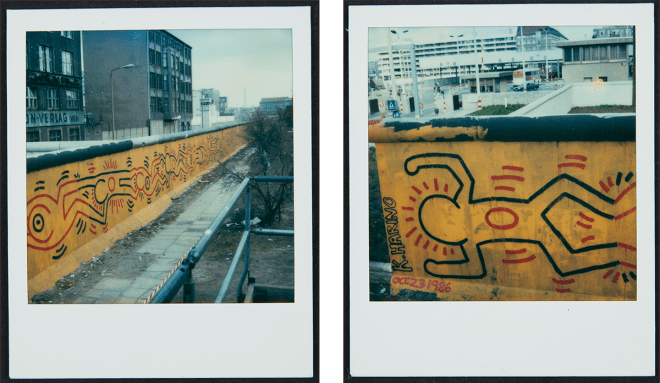 Keith Haring Berlin Wall Mural at Checkpoint Charlie Polaroids, 1986 Keith Haring Foundation