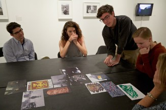 (L-R) Curator & Postdoctoral Writing Fellow Paul Farber, Esme Trontz '18, James Burvant '16, Courtney Carter '17 at Crosslisted: Dangerous Connections.