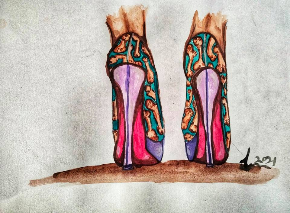 ציור של נעלי עקב עם זרגים