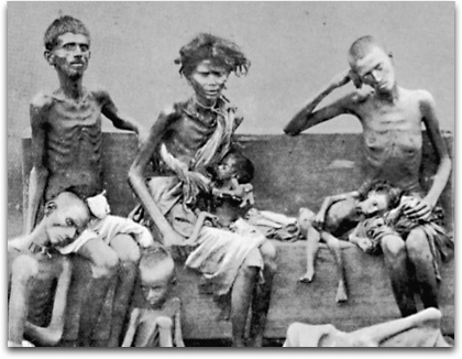 Pictures of the hungry and dying in Bengal during the famine.