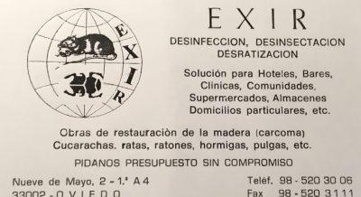 Tarjeta de visita inicial de EXIR hace 25 años
