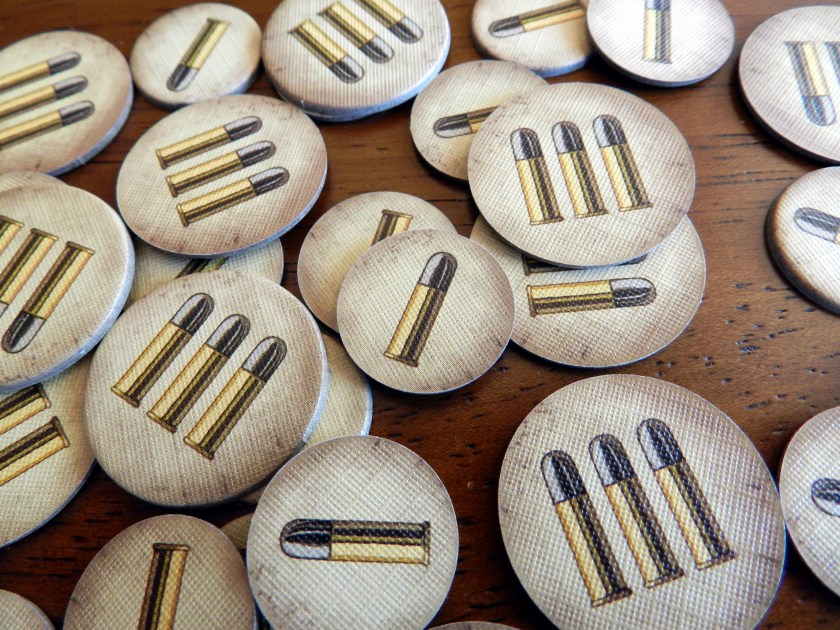 The cartridges on The Dice Game's tokens are rimmed (although they look quite a bit like .22 caliber cartridges, a smaller caliber than any of the firearms shown in the game).