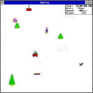 SkiFree was a computer game for Windows 3.1 where you get eaten by an Abominable Snowman. I loved setting the trees on fire.