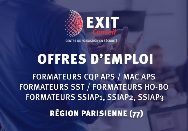 OFFRES D'EMPLOI : Formateurs CQP APS / MAC APS / SST / FORMATEURS H0-B0, FORMATEURS SSIAP1 / SSIAP 2  ET SSIAP3