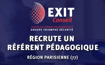 OFFRE D'EMPLOI : Exit Conseil recrute UN REFERENT PEDAGOGIQUE basé en Seine et Marne