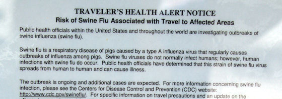 Traveler's Health Alert posted at rest area