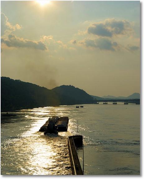 tow on the arkansas river, upstream of the big dam bridge, near little rock