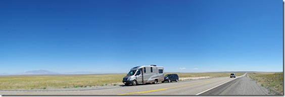 Our motorhome and car on the road between Idaho Falls and Arco on the Idaho National Laboratory