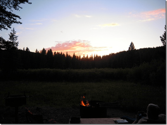 Enjoying a camp fire and the sunset  in Montana