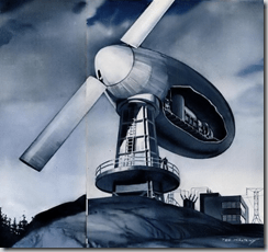 """1940s artist concept drawing of what a new """"windmill"""" in Vermont would look like in July 1941 issue of Popular Science"""