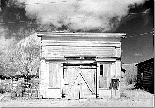 Assay Office in Bannack, Montana - one of the early mining camps of Montana, and the first capitol of the state .  Photo by John Vachon, April 1942