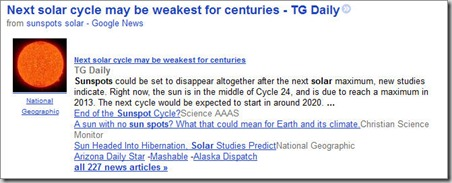 Headline--Next solar cycle may be weakest for centuries