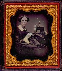 Occupational portrait of a woman working at a sewing machine [ca. 1853.]